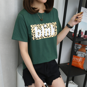 08# (实拍,有视频)6535棉 2019夏季新款豹纹印花短袖t恤女