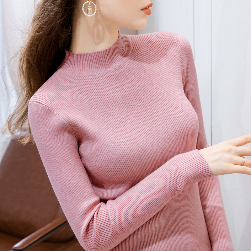 Womens new fall / winter 2020 with long sleeve simple basic stretch solid T-shirt