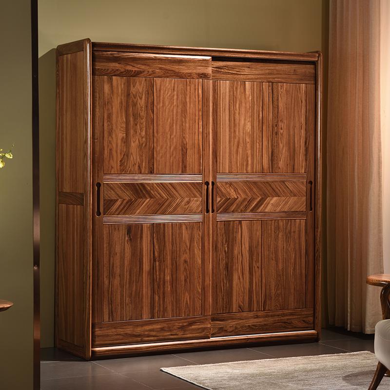 (用1元券)kq乌金木衣柜卧室移动门全实木衣柜