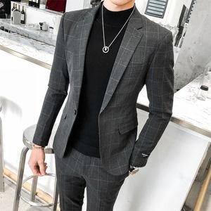 西服套装男四季韩版青年修身休闲格子西装英伦新郎婚礼礼服发型师