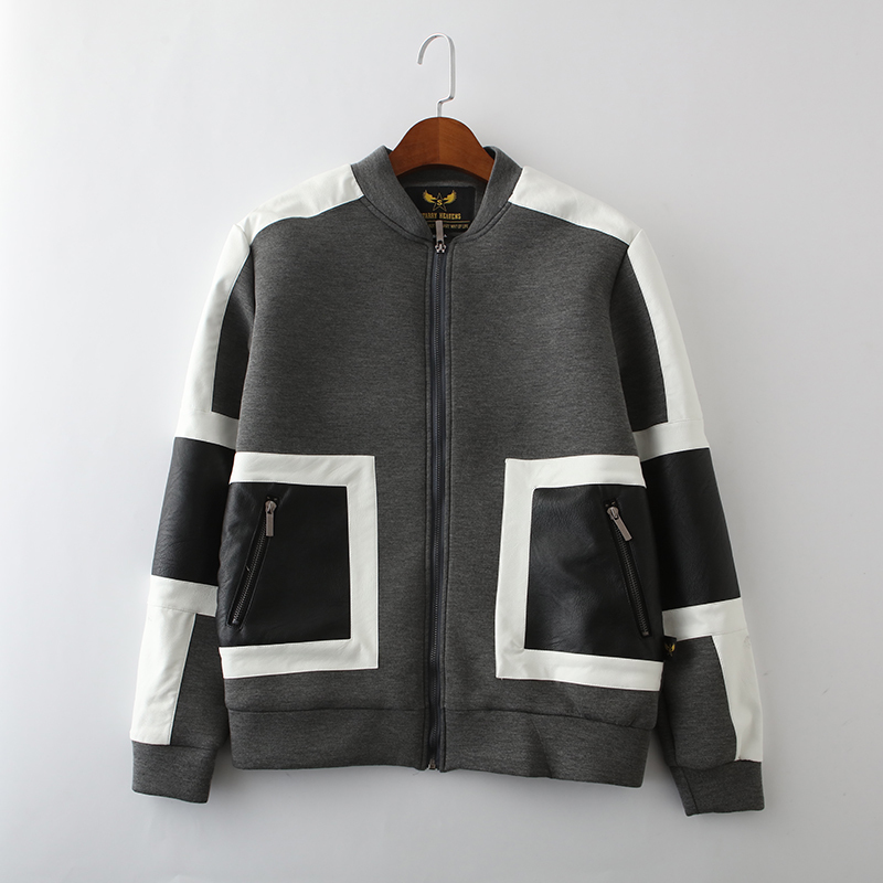 Baoyou original fashion brand spring and autumn new style with color contrast autumn and winter European and American jacket Baseball Jacket
