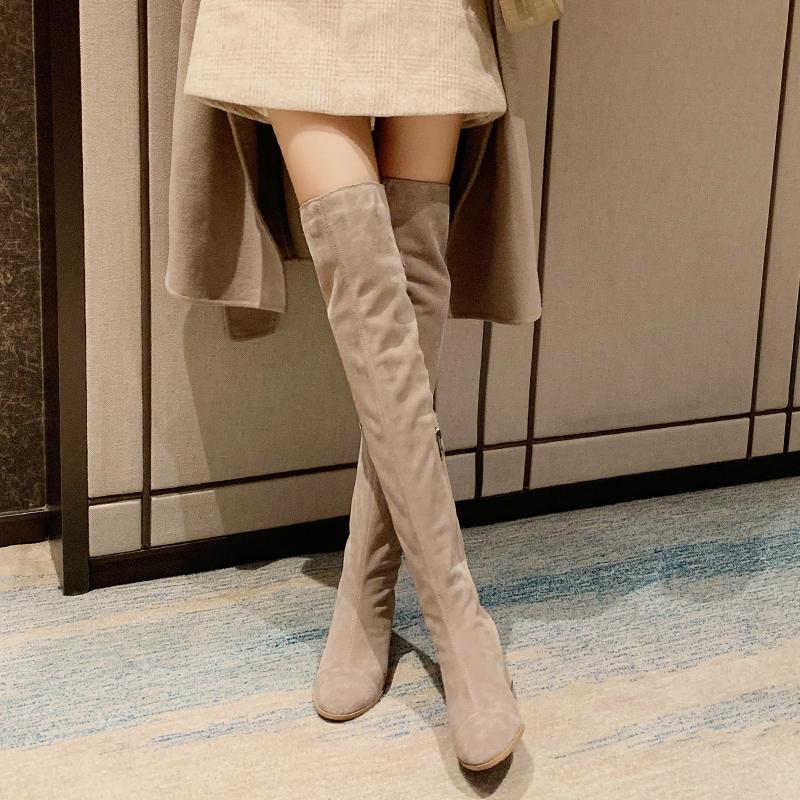 高跟真皮长靴女靴过膝靴2020年新款米色长筒靴子秋冬卡其色全皮