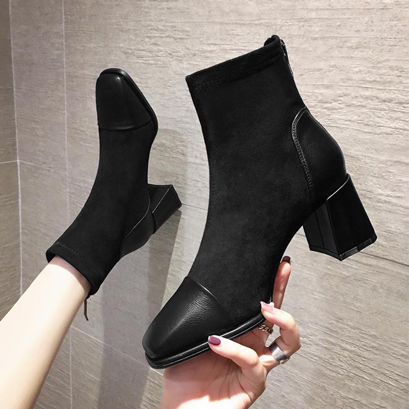 European station Martin boots women autumn / winter 2020 new British style single boots black thick heel square toe high heel short boots