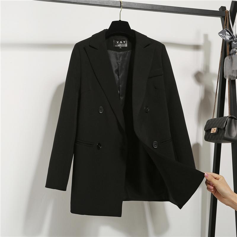 2020新款chic小西装女装外套英伦风韩版宽松休闲职业时装黑色西服