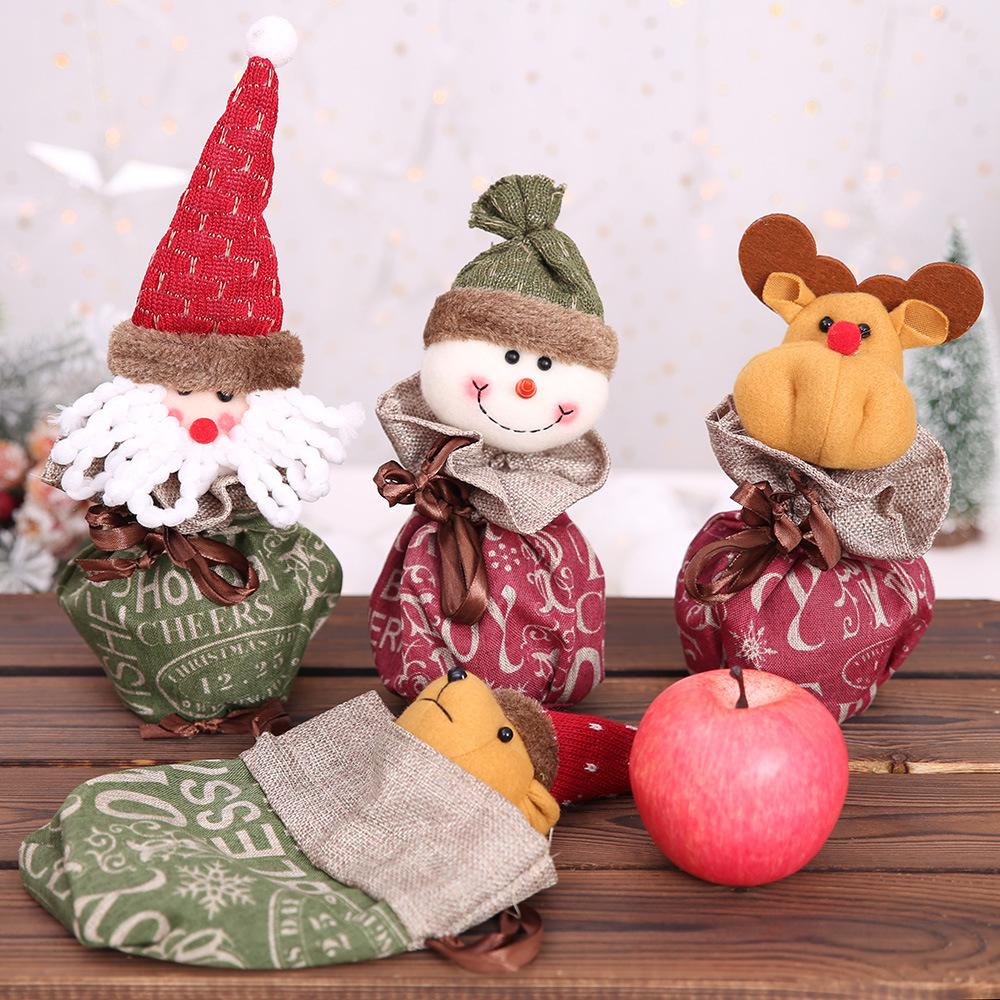 圣诞节装饰品平安夜苹果袋圣诞礼品圣诞老人礼物袋子创意糖果包装