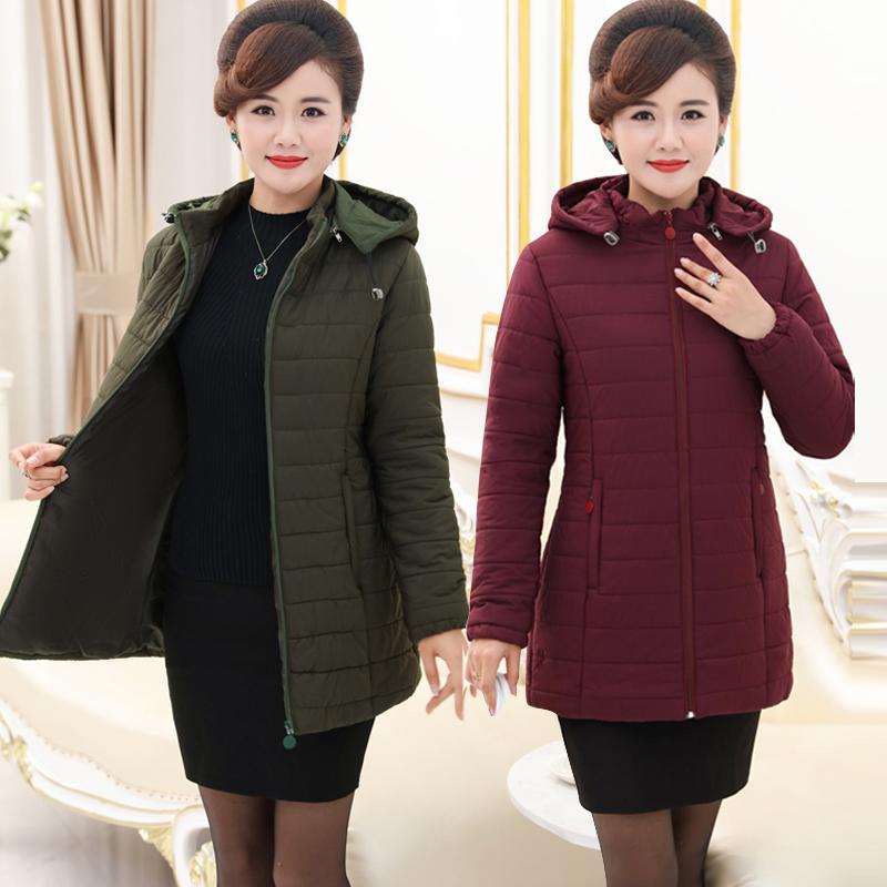 中老年女装冬装新款加厚棉衣女中长款加肥加大宽松中年妈妈装棉服