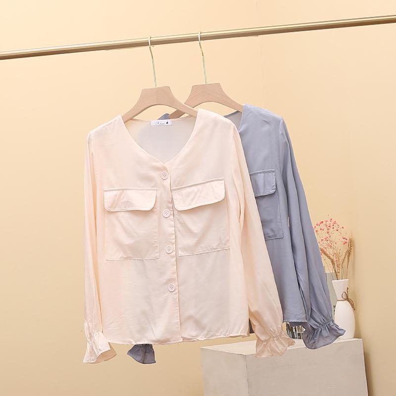 10月20日最新优惠人鱼姬防晒设计感小众v长袖衬衫