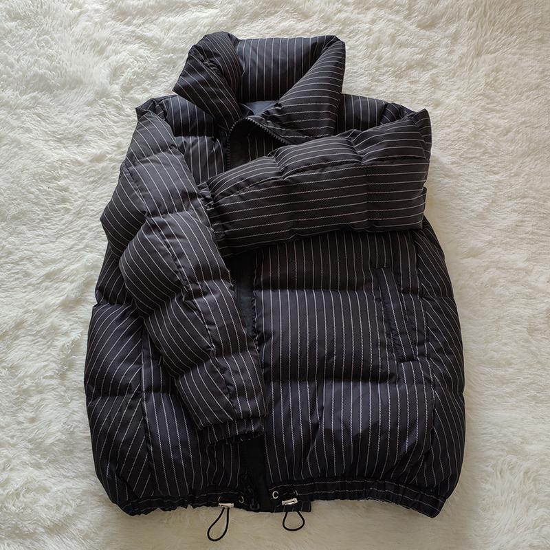 Anti season promotion Korean loose striped down jacket womens short small bread Jacket Large A-line cape coat