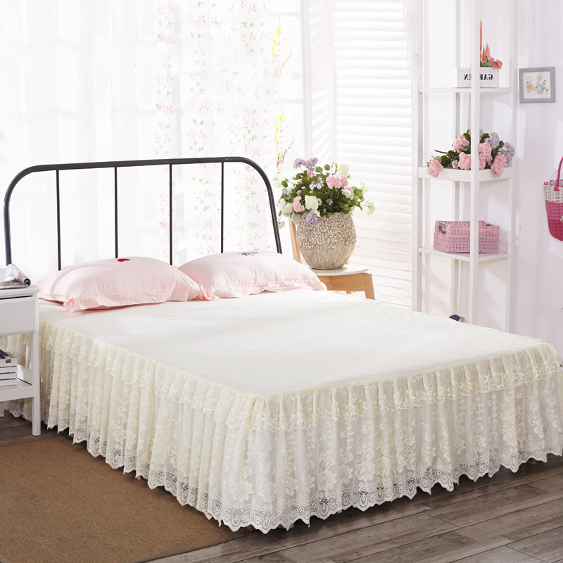European Princess Lace Bed Skirt bedspread single piece lace solid color bedspread protective cover 1.5m 1.8 × 2 * 2.2m