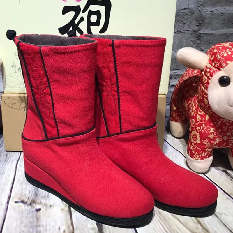 吉祥の手編みの布靴《幸運が続きます》の秋冬の民族の風の千階の底の坂と女史の布の靴
