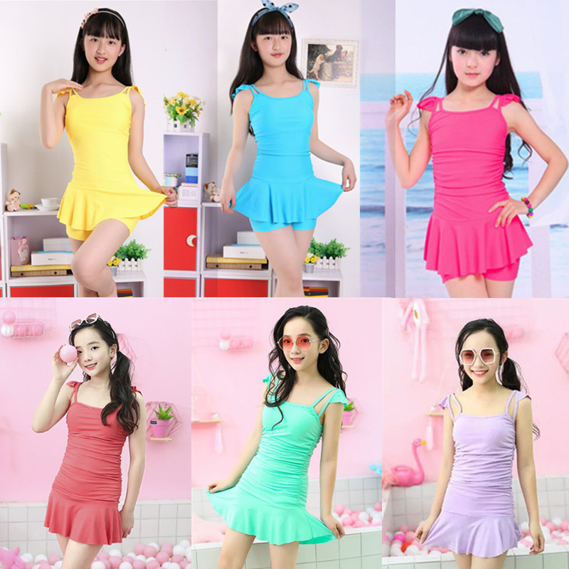 12-18 years old new student girl, child girl, Princess split one-piece flat angle girl. Swimsuit, swimsuit