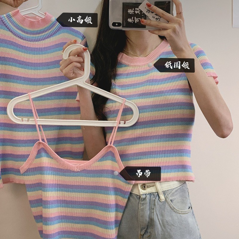 Short blouse womens sweater vest 2020 summer small suspender + slim short sleeve Purple Stripe T-shirt women