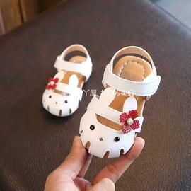 夏季新款女宝宝凉鞋0-1-3岁2女童包头凉鞋公主沙滩皮鞋婴儿学步鞋