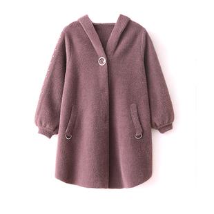 中年妈妈秋冬加厚连帽羊绒大衣中老年女中长款大码洋气水貂绒外套