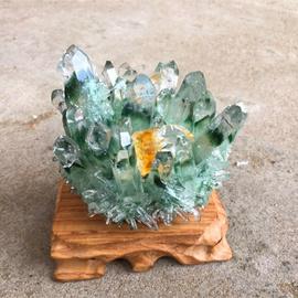 天然水晶绿幽灵晶簇黄幽灵六菱水晶柱水晶块结晶石原石原矿摆件图片