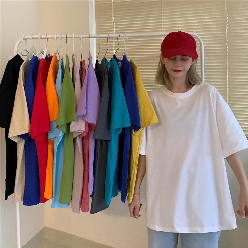 實拍實價 純棉基礎色中長款純色2020春夏短袖t恤女寬松上衣