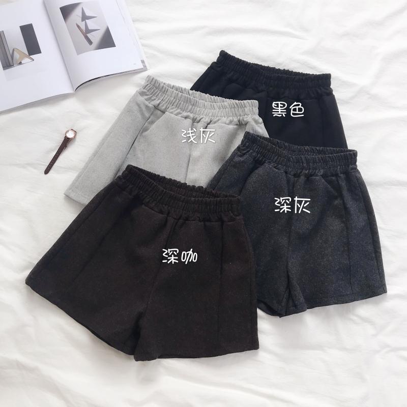 实拍实价 短裤时尚秋冬季松紧高腰显瘦毛呢直筒休闲裤子女