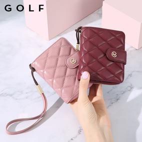 golf羊皮美式女菱格名片拉链零钱包