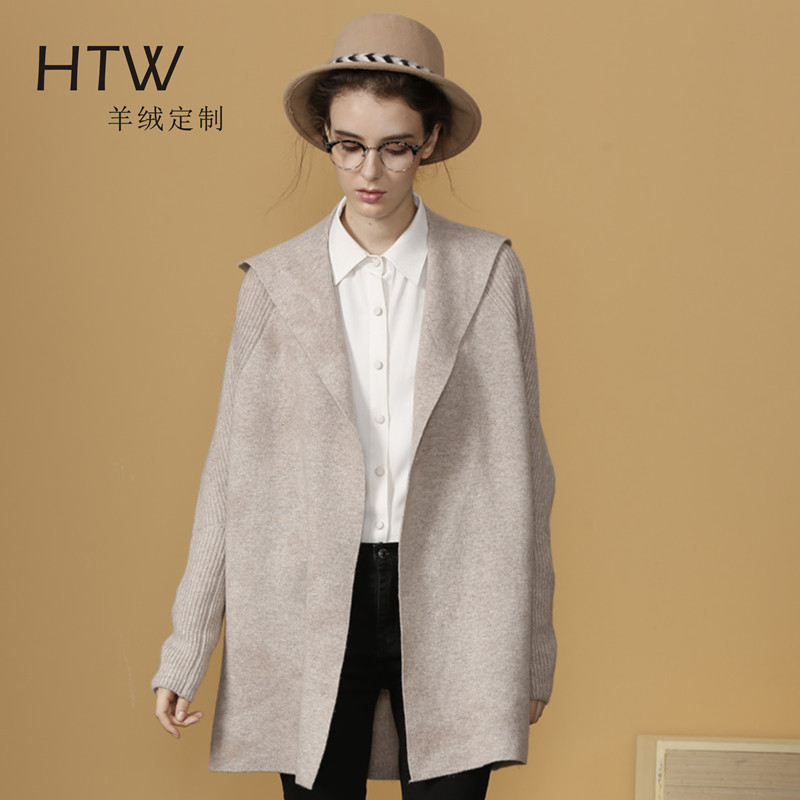 New fall woolen hooded overcoat with cocoon shape overcoat loose sweater and cashmere blended hand knitted wool