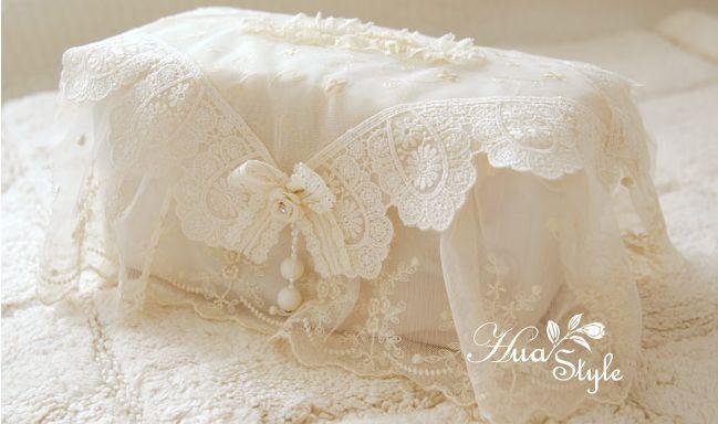 韩国正品米黄色蕾丝卧室纸巾盒 韩式浪漫车用纸巾套