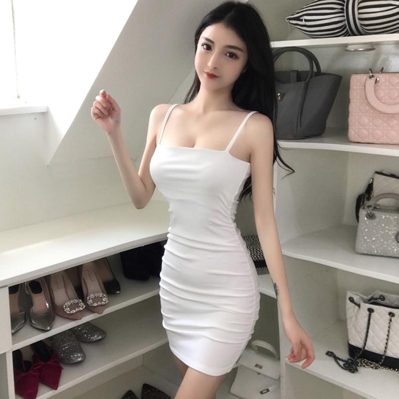 直播衣服女主播性感2020新款一字领紧身打底包臀吊带抹胸连衣裙子