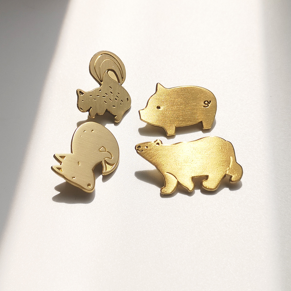 Orzo selected original life cute animals cat bear duck pig four brass retro Brooch full package