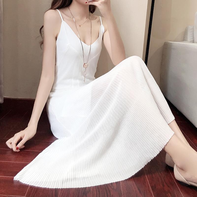革尚最美白色吊带连衣裙夏2019新款女秋外穿性感超仙长款吊带长裙