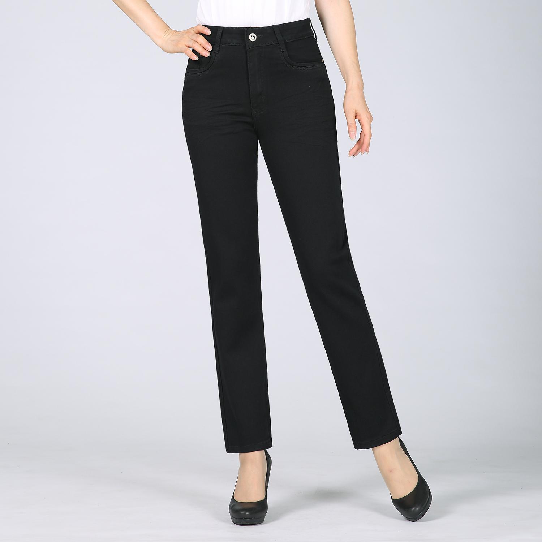 新款秋冬装中老年女士牛仔裤长裤单裤