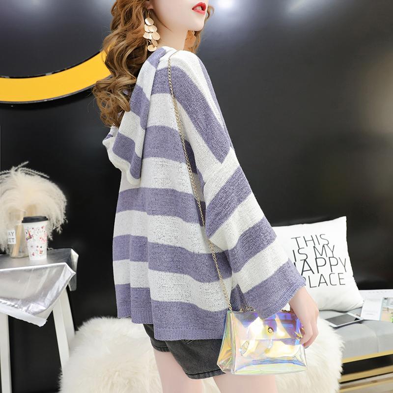【减10】冰丝针织罩衫女连帽上衣薄韩版宽松条纹夏季新款防晒外套