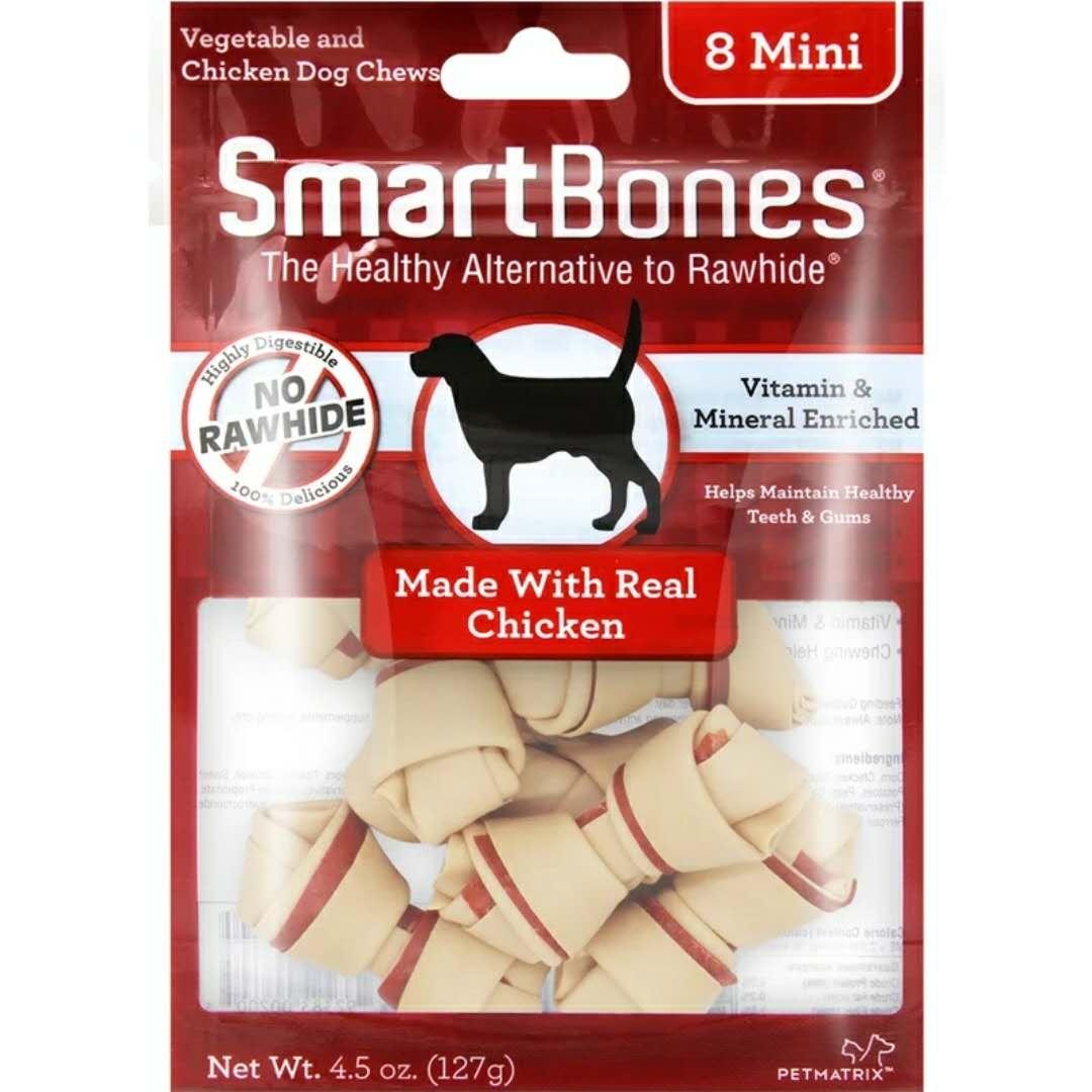 禾仕嘉SmartBones 宠物狗零食鸡肉味迷你磨牙洁齿骨8支装可吃咬胶