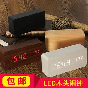 现代简约木头钟多功能led电子闹钟卧室床头座钟静音夜光LED电子钟