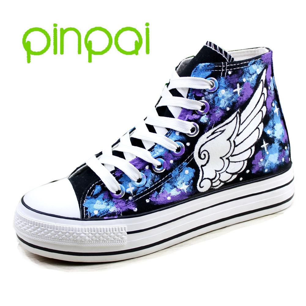 星空夜光鞋子手繪帆布鞋塗鴉鞋鬆糕厚底翅膀男女生高幫情侶鞋板鞋