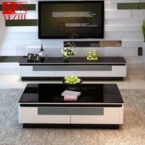 Yi Tempered Glass tv cabinet modern simple cabinet small family living room TV cabinet Tea table combination set