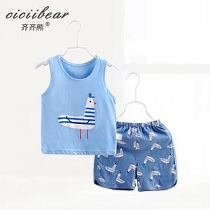 齐齐熊 婴儿夏装纯棉衣服卡通印花两件套0-1-3岁男女宝宝背心套装