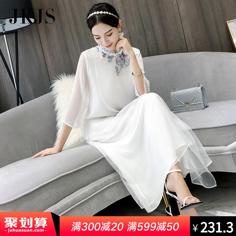改良旗袍夏季2018新款女复古中国风女装白色长裙民族风夏装连衣裙