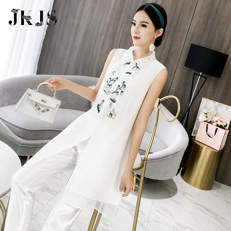 汉服夏装女改良旗袍中国风女装中式唐装古风刺绣中长款民族风上衣