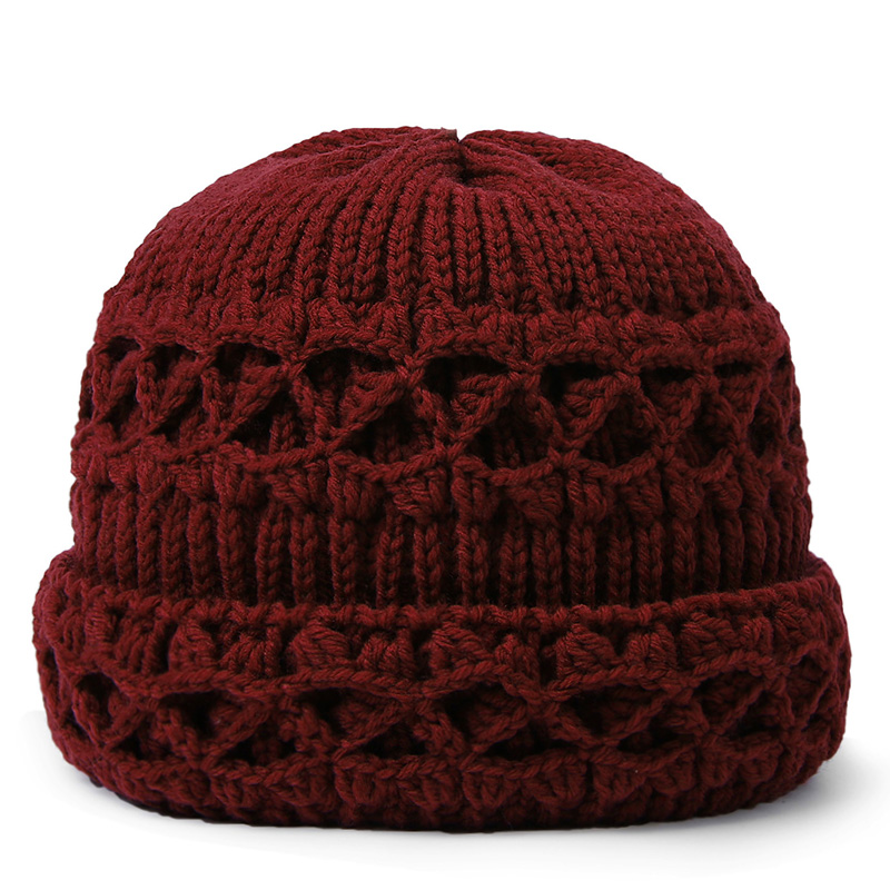 Knitted wool hat for middle-aged and old women