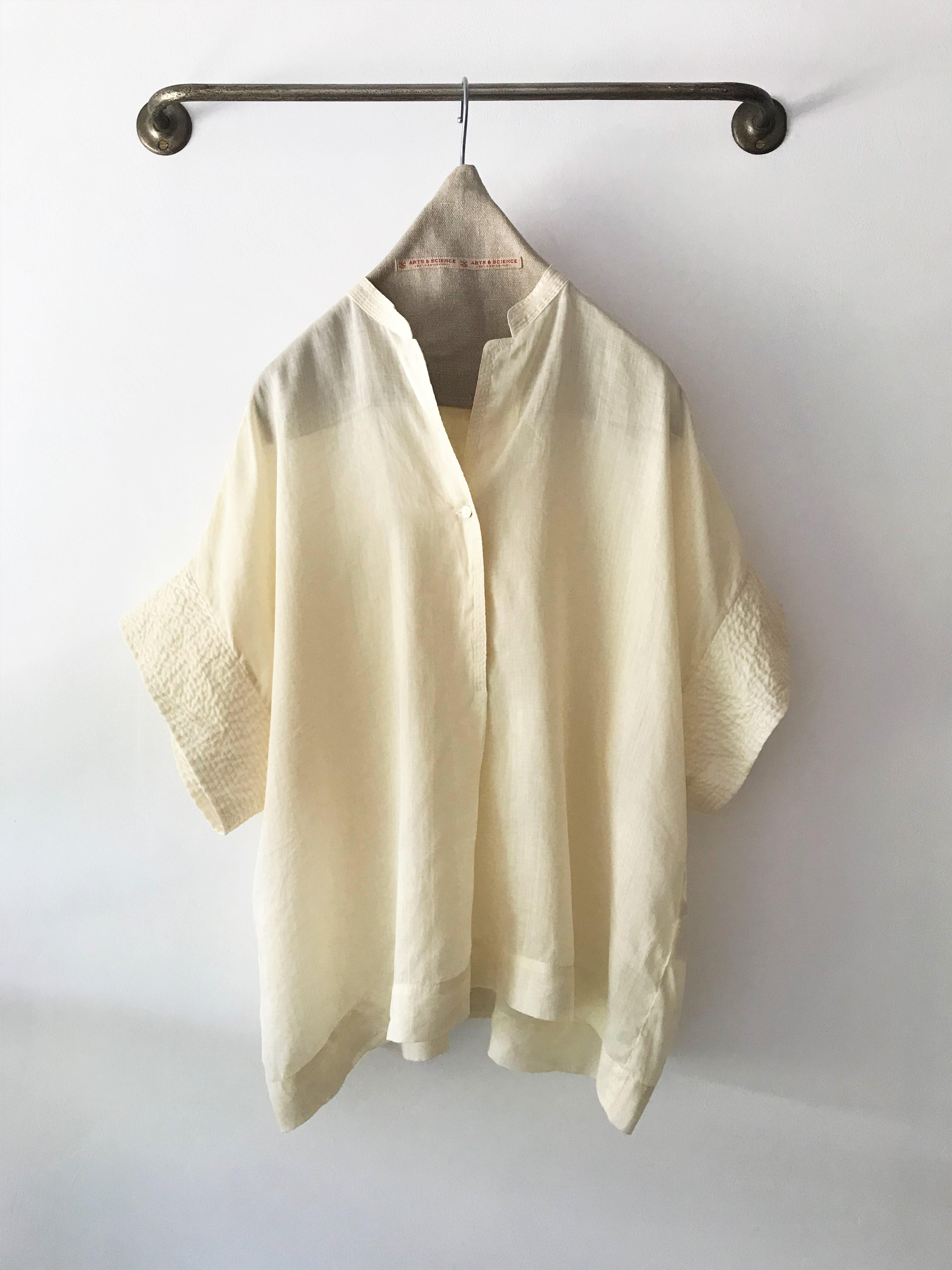 包税包邮日本代购arts&science21夏季上质亚麻清爽轻薄短袖衬衫女