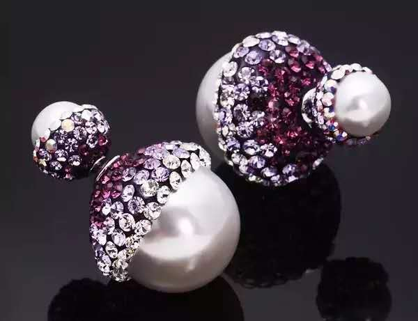 Gradient diamond front and back pearl double-sided Earrings female Korean style jewelry 925 Sterling Silver Earrings