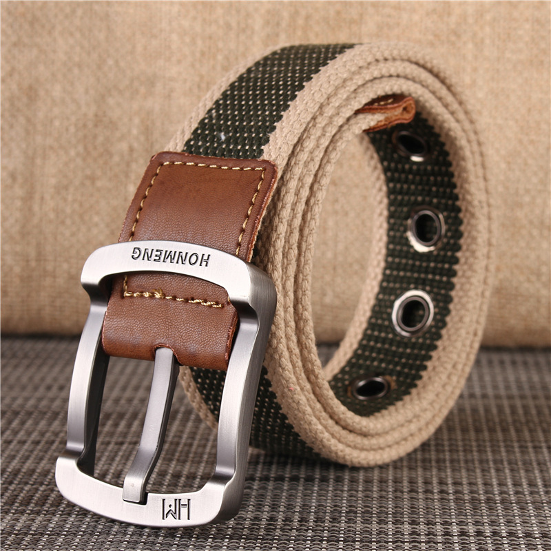 Mens leather belt, womens canvas belt, young peoples knitting, students military training, leisure and versatile, youth wear-resistant pin buckle
