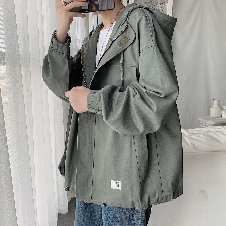 男士工装外套秋冬季2020新款韩版潮流宽松薄衣服很仙的风衣男短款图片
