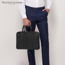 Voice briefcase men's business leather handbag men's One Shoulder Messenger Bag horizontal leather leisure bag