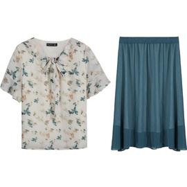 【直播上新】新款大码女装印花上衣纯色裙子胖妹妹洋气套装夏季图片