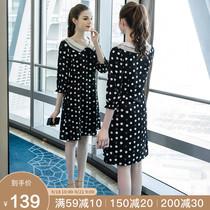奢姿秋季2019新款大码女装200斤胖mm时尚遮肚显瘦减龄印花连衣裙