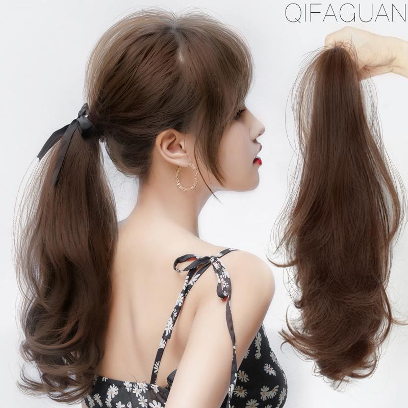 超轻假发马尾女绑带式抓夹少量中长卷发仿真发蓬松自然隐形辫子