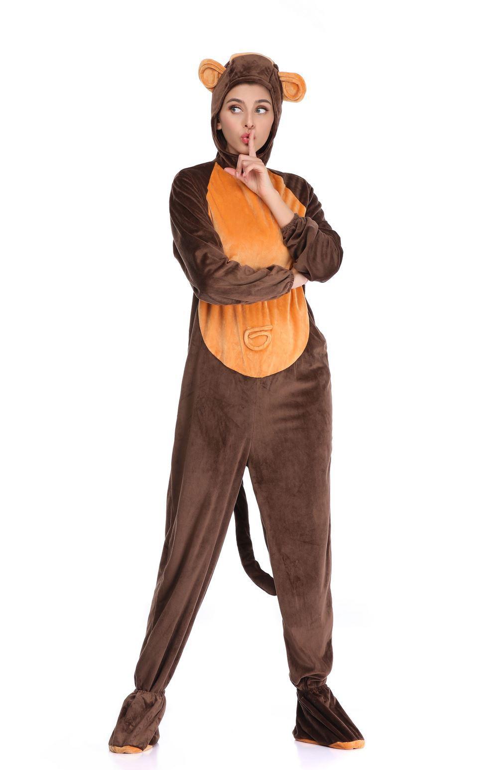 万圣节儿童节电影服装 成人儿童幼儿动物可爱猴子演出装扮服装