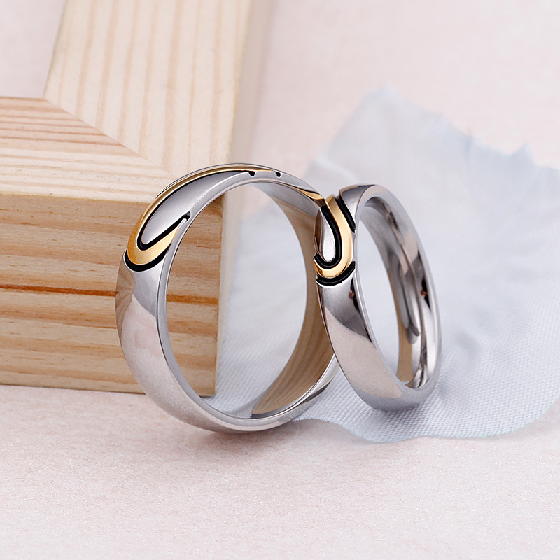 Titanium steel Valentines Day gift ring ring ring heart shaped puzzle jewelry mixed batch new jewelry lovers