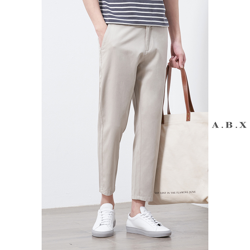 Summer Tencel small trousers men's straight trousers loose nine-point pants Korean trend casual pants men's trousers thin section