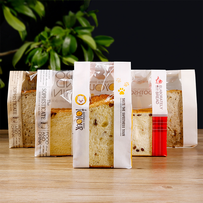 Changye baking toast bag kraft paper slice French bread bag transparent open window packaging bag 6-7 square bags