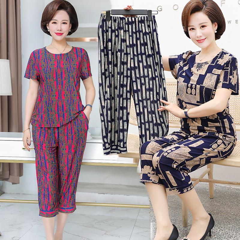 2021中年妈妈夏季两件套30-50-60岁中老年套装短袖T恤7分裤女装